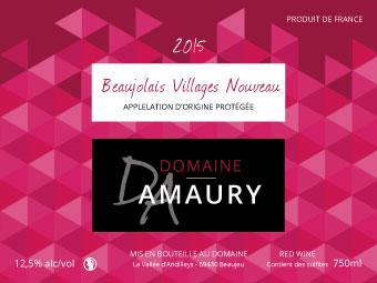 Etiquette Domaine Amaury BEAUJOLAIS NOUVEAU