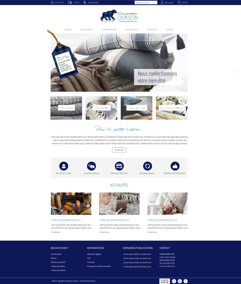 Site web e-commerce literie